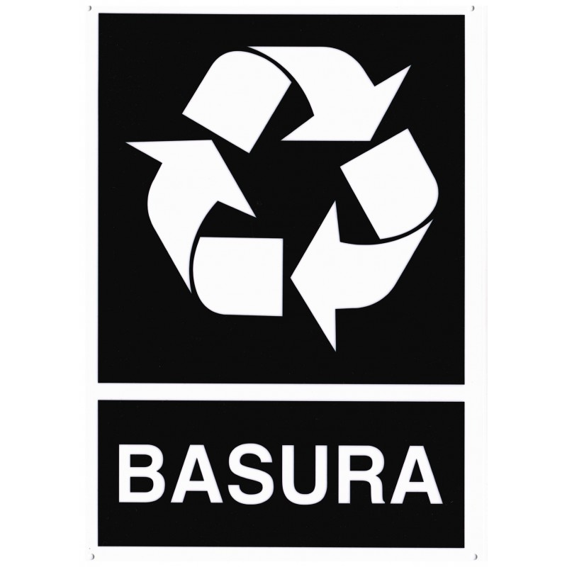 CARTEL/SEÑAL RECICLADO BASURA